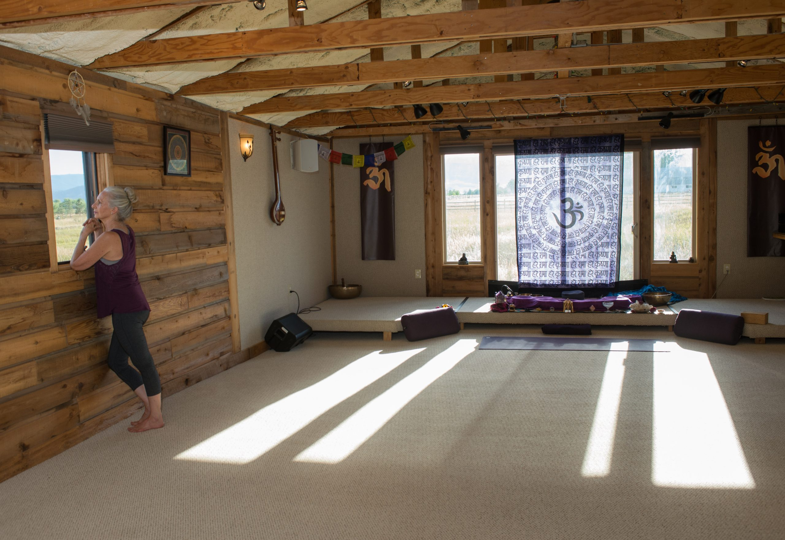 The yoga space inside.